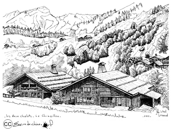 Dessin encre chine peinture carte postale gravure eau - Dessin de chalet de montagne ...