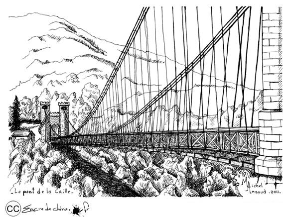 dessin,encre de chine,peinture,postale,pont,Caille,suspendu ...