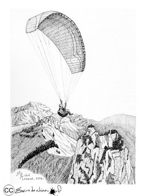 Montagne encre de chine - Parapente dessin ...